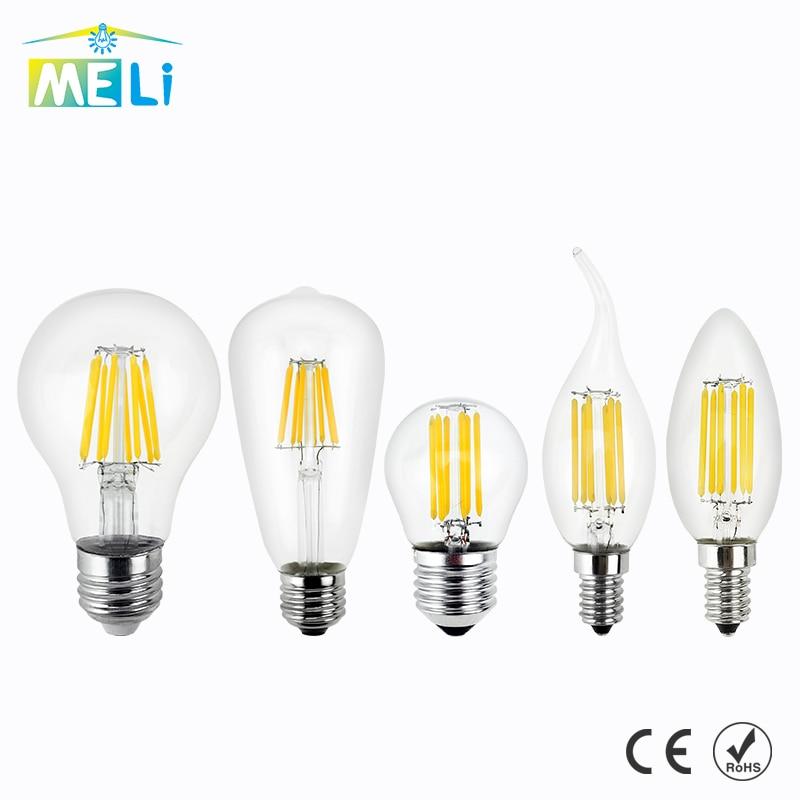 Антикварная ретро Винтаж светодиодные лампы Эдисона E27 Светодиодная лампа E14 нити Light 220 В Стекло лампа 4 Вт 8 вт 12 Вт 16 Вт свеча свет лампы