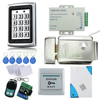 Free Shipping Full door Waterproof Access Control System Kit Set with metal Keypad+Electric Control Lock+Power+Remote+Door bell