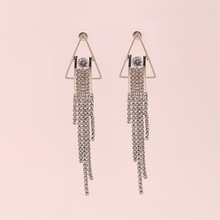 цена на Fashion Jewelry Tassel Earrings Triangle Rhinestone Personality Gold Silver Color Drop Earrings Long Eardrop Holiday Gift