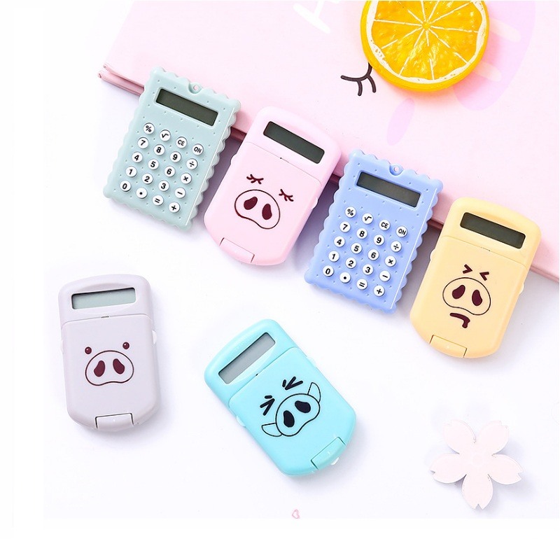Pocket Size 8 Digits Display Cartoon Mini Ultra-thin Button Battery Cute Calculator Creative Portable For School Student
