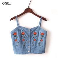 ORMELL Female Fashion Embroidery Denim Tank Top Lady Girls Summer Sexy Crop Tops Women 2017 Blue