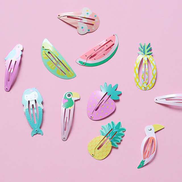 NEW Kids Hair Accessories Headwear 2-6Pcs/Set Flamingo Pineapple Fruit Hairpins Cartoon Mermaid Horse Rainbow Hair Clip for Girl 4