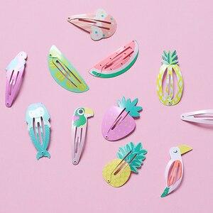 Детские аксессуары для волос, 2-6 шт./компл., заколки для волос с фруктами в виде фламинго, ананаса, мультяшная Русалочка, конь, радужная заколка для волос для девочек