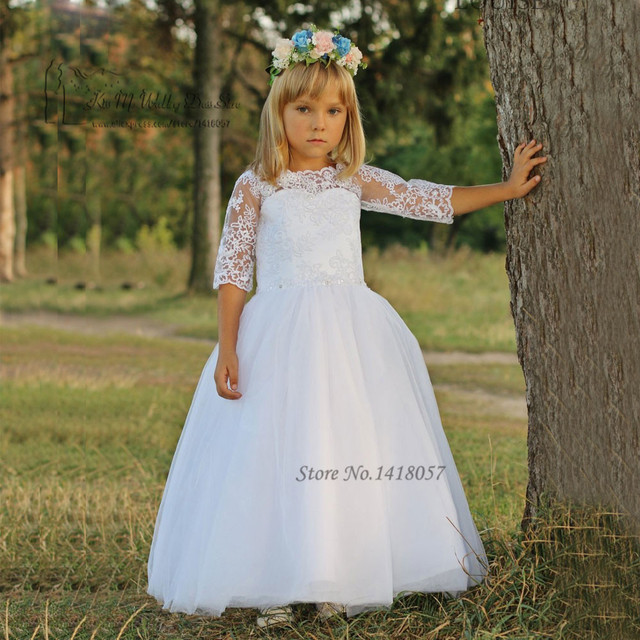White Mother Daughter Gowns Lace Holy Communion Dress Graduation ...