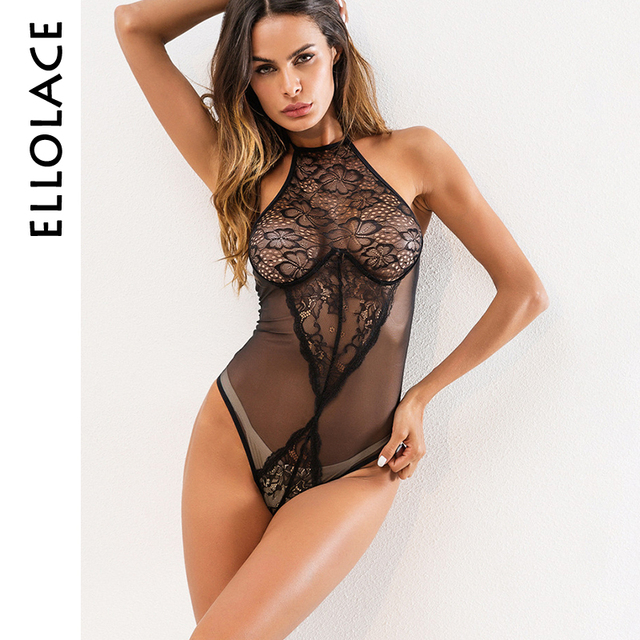 e85ee5c1a Ellolace sexy sheer mesh bodysuit bodycon jumpsuit halter neck top high cut thong  bodysuit sleeveless plunge teddies