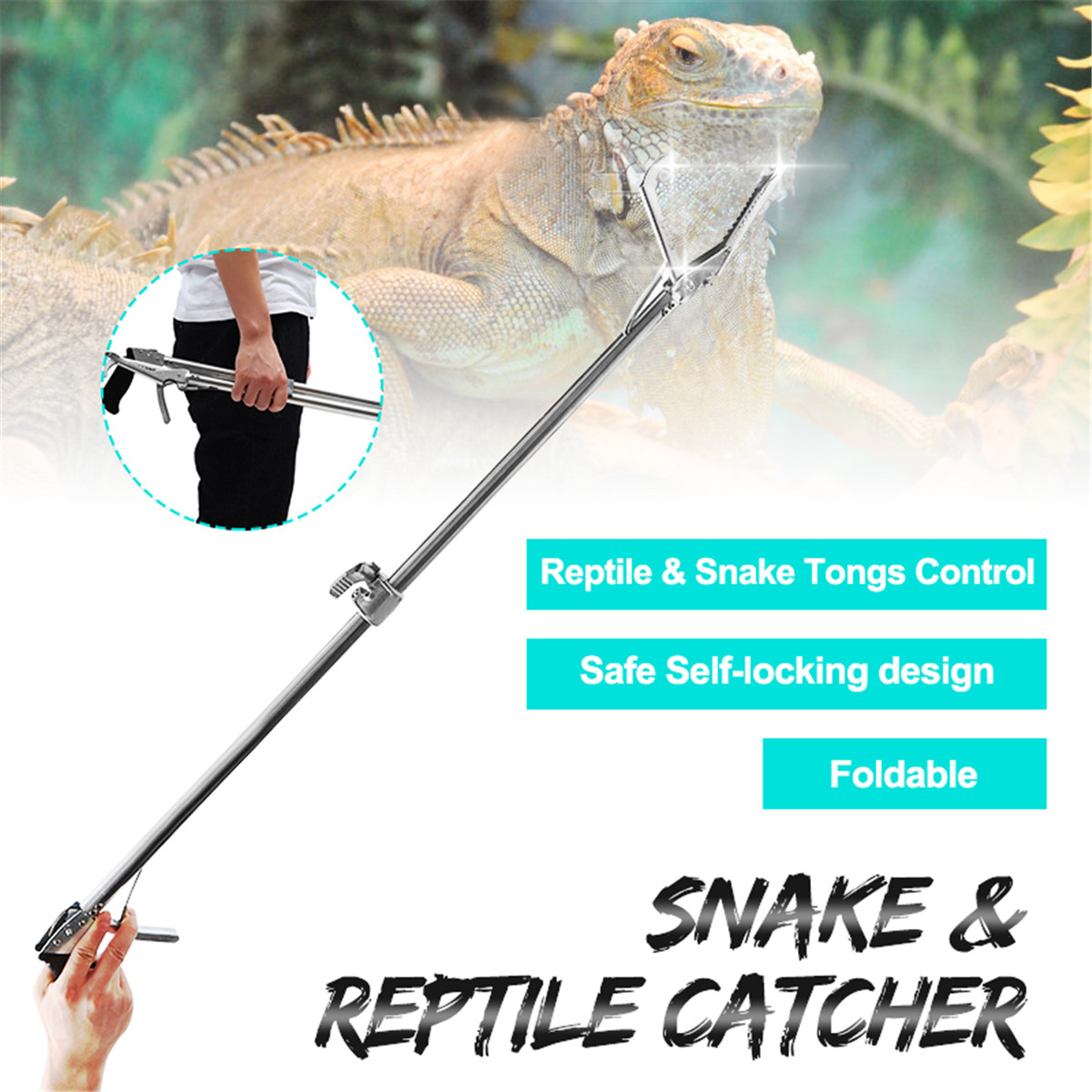 Foldable Reptile Snake Tongs Stick Grabber Snake Catcher Self Locking Wide Jaw Tool Heavy Duty Pest Control Product 120/100/75CM