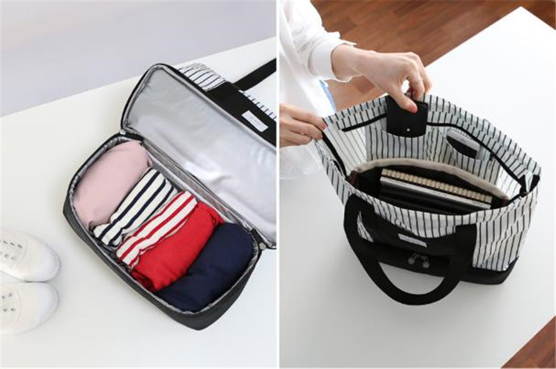 PACGOTH Striped Pattern Nylon Lunch Bag Two Layers Big Storage Multi-functionThermal Food Picnic Lunch Bag Warm Keeper Lunch 1pc