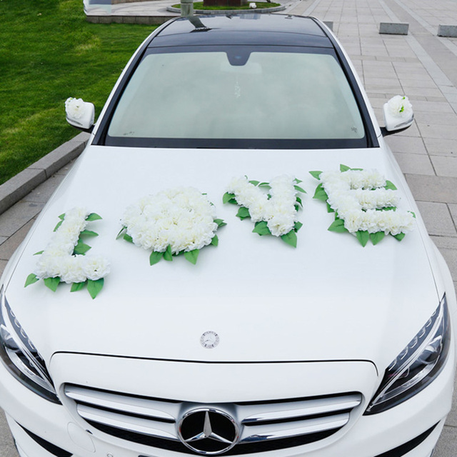 White Wedding Car Decorations Artificial Flowers Set Party Silk Bouquet Home Decoration