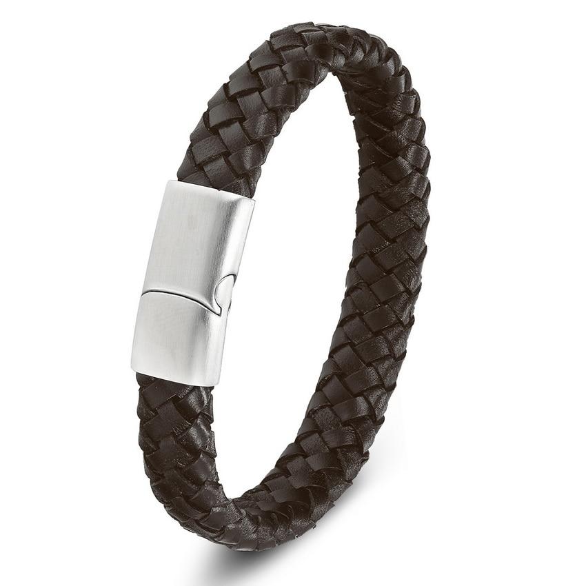 XQNI Top kvalitet 3 farve flettet ægte læder armbånd til mænd - Mode smykker - Foto 6