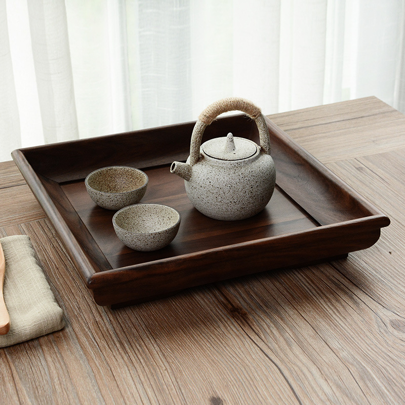 Black walnut rectangular Japanese tea tray solid wood tea plate fruit plate wooden tableware fruit plate