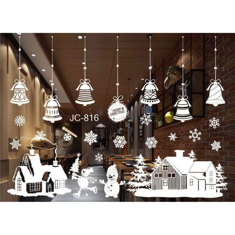 Christmas Wall Stickers Christmas Tree Snowman Antelope Santa Claus Shop Window Glass Background Stickers Decor 55*38cm