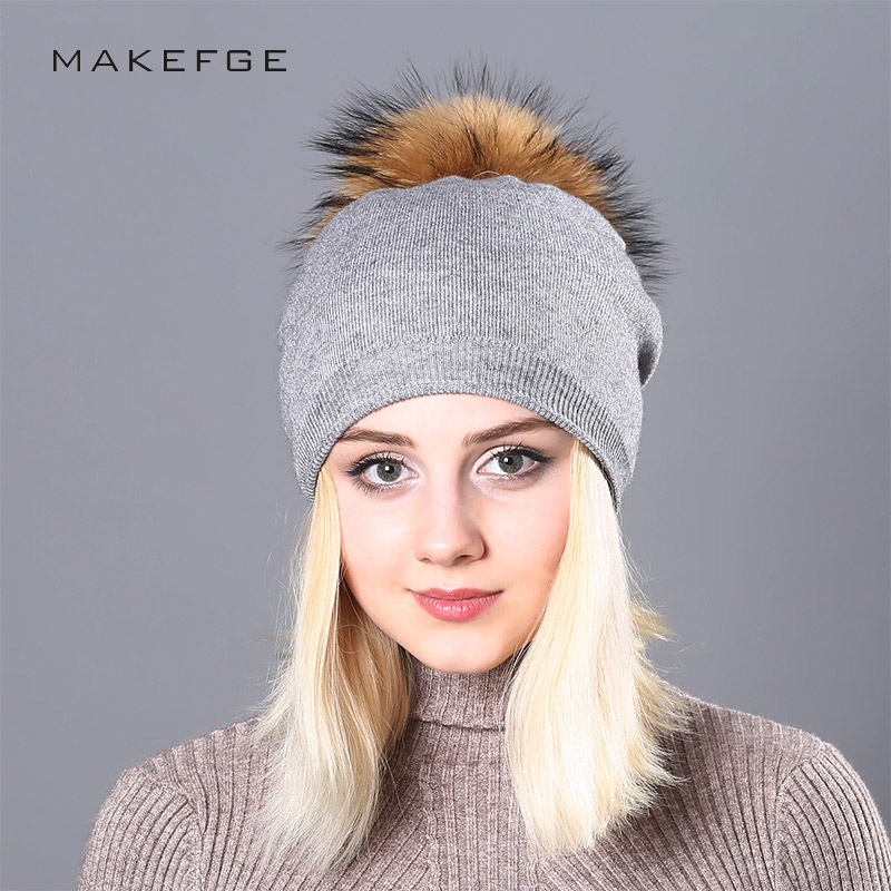 NEW Raccoon Wool Fur Pom Poms Hat Female Women Warm Knitted Casual Vogue Winter Hats   Skullies     Beanies   Cotton Wool Girl Cap