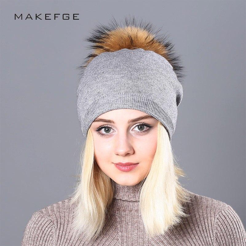 NEW Raccoon Wool Fur Pom Poms Hat Female Women Warm Knitted Casual Winter Hats   Skullies     Beanies   Cotton Wool Girl Cap
