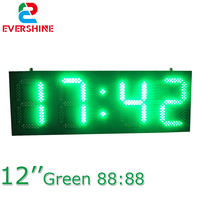 Outdoor green color p12 digital number led display board time temperature display led clocks