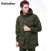 Kolmakov 2017 Для мужчин модные 100% хлопок ковбойские куртки пальто Для мужчин высокого качества утепленный плащ куртка Для мужчин бурелом
