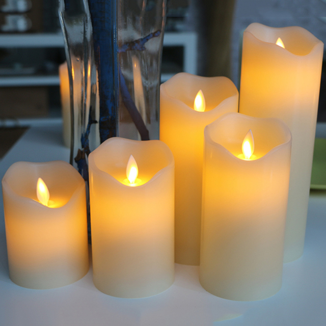Flameless Led Candles With Dancing Flame Wax Pillar Candle Lamp For Valentine S Day Wedding