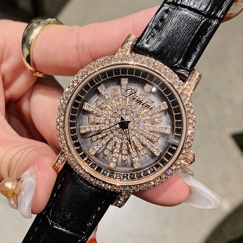 Diamond Luxury Women Watches Rotation Dial Crystal Ladies Watch Waterproof Flower wrist watch for women clock relogio feminino