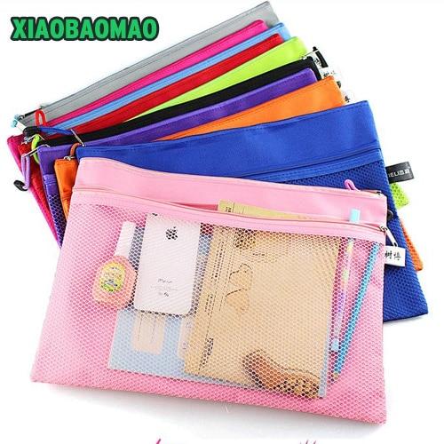 1pcs Good Colorful Double Layer Canvas Cloth Zipper Paper File Folder Book Pencil Pen Case Bag File Document Bags