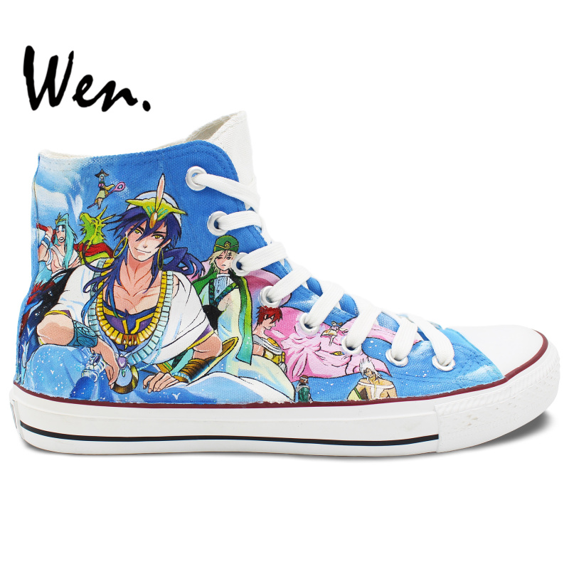Wen Hand Painted Canvas Sneakers Design Custom Magi Men Women's High Top Anime Canvas Sneakers for Gifts wen high top shoes hand painted design custom anime code geass lelouch men women s canvas sneakers for unique gifts