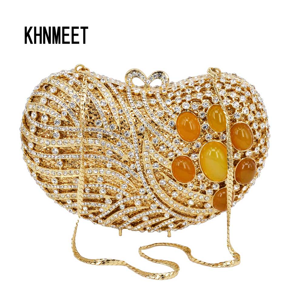 Fashion Luxury Gem Clutch bag Golden Chain Party Wedding Purse Women rhinestone Evening Bag Female Bag Ladies Day Clutch