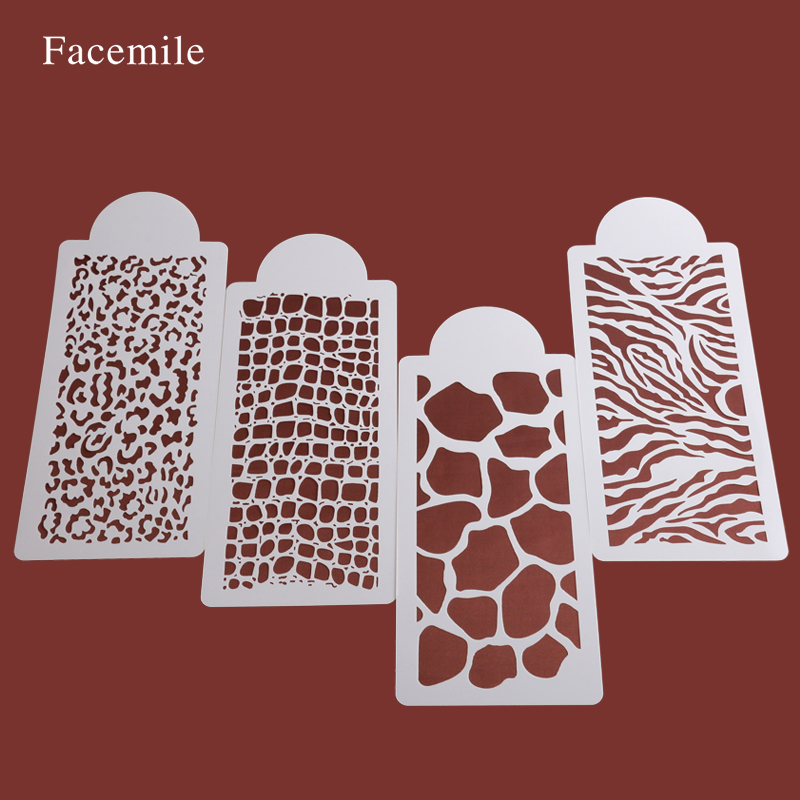 Facemile 4pcs Set Animals Skin Cake Stencil