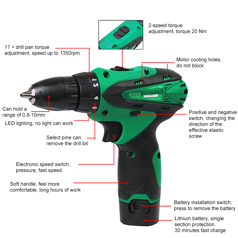 LAOA 12V Electric Screwdriver Lithium Battery Electric Drill for Wood Tile