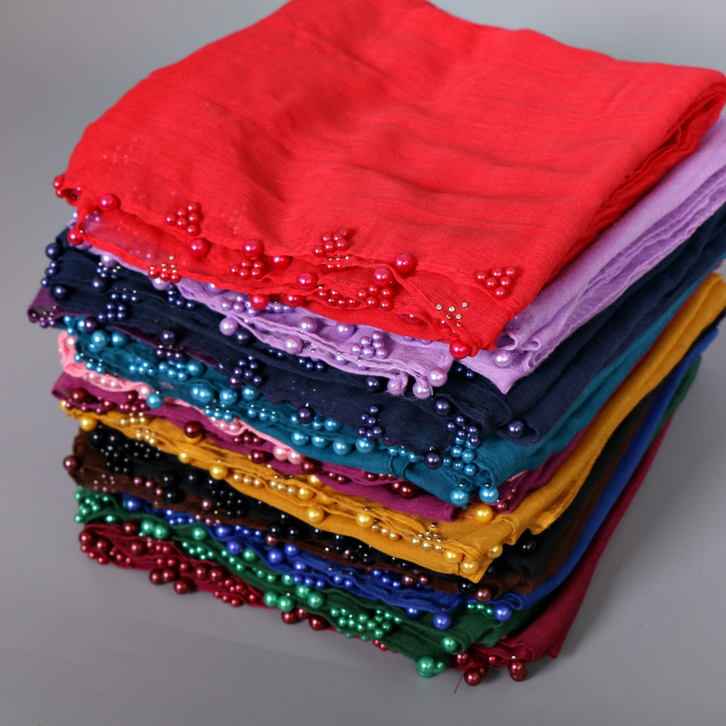 13 Color NEW Design Ladies Colored Pearl Printe Solid Color Viscose Scarf  Hijab Muslim Wrap Glitter Scarves/scarf 10pcs/lot