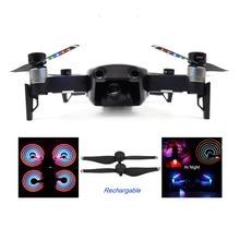 1 par flash de luz LED hélices de liberación rápida hojas de utilería para DJI Mavic Air Drone hélice de bajo ruido accesorios de carga USB