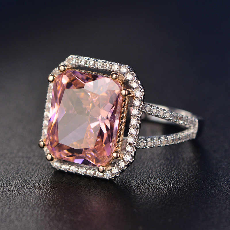 Fashion Big square pink ring claws zircon silver color trendy Party rings for women Jewelry  ZK40