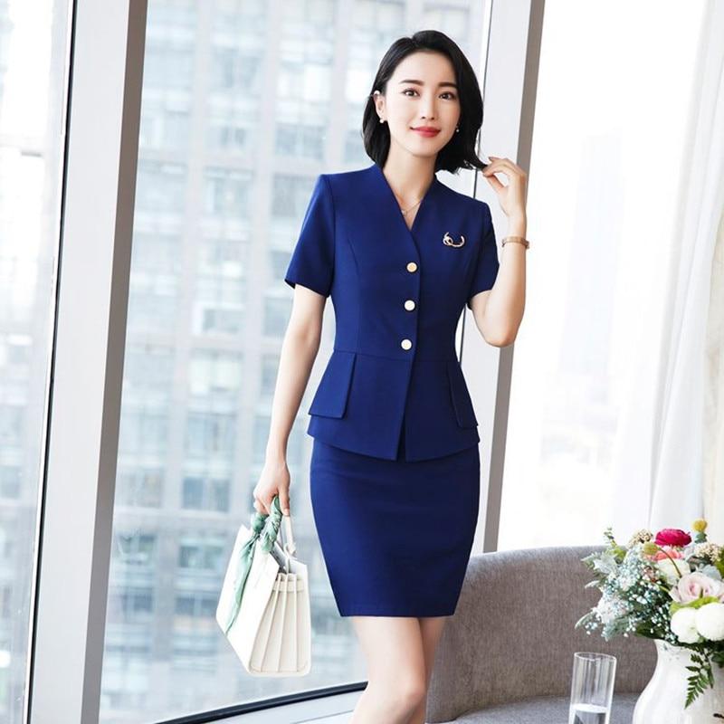 Fmasuth New Summer 2 Pcs Jacket Skirt Set Slim Waist Pocket Jacket Blazer+Black Formal Skirt Office Woman Career Suit QYC952D