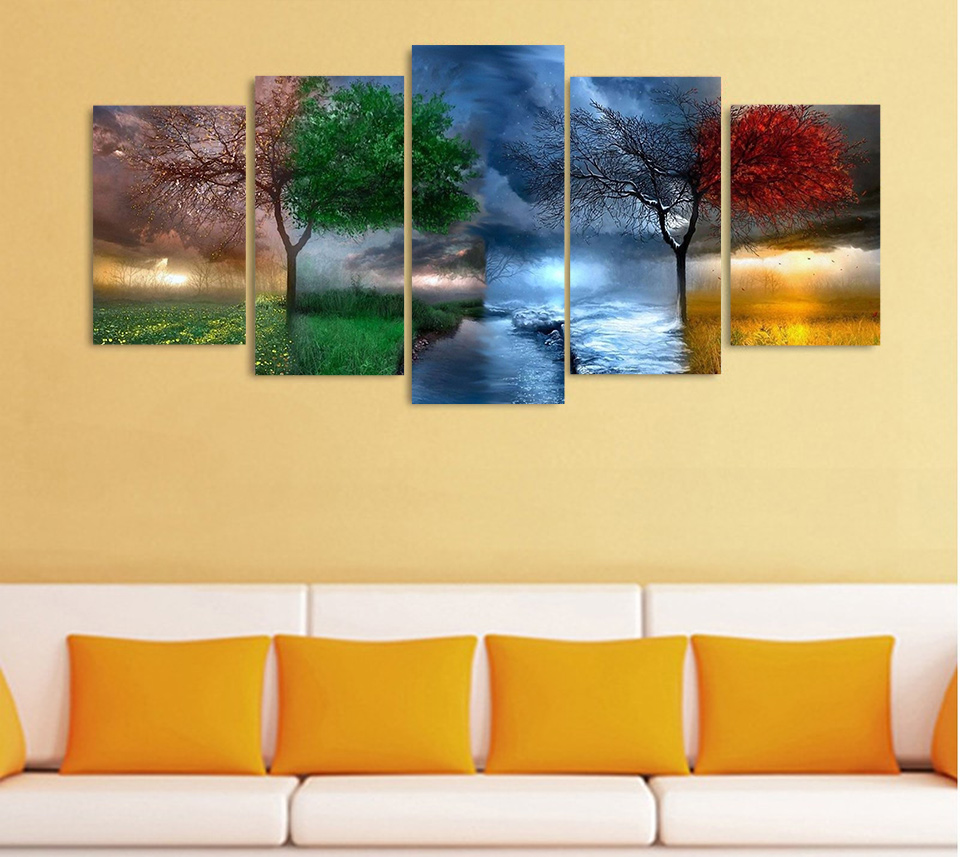 Abstract Colorful Fantasy Art Trees Canvas Paintings Rainy Wall ...