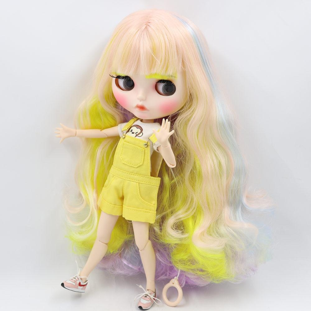 Oyuncaklar ve Hobi Ürünleri'ten Bebekler'de BUZLU Çıplak Blyth Doll Için No. 708400660052352 (330) renkli saç Oyma dudaklar Mat yüz kaşları Ortak vücut 1/6bjd'da  Grup 1