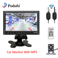 Podofo Bluetooth Wireless 7 Slim Car Rear View Monitor Dashboard Screen USB MP5 Player With Mini 4 IR LED Lights Backup Camera