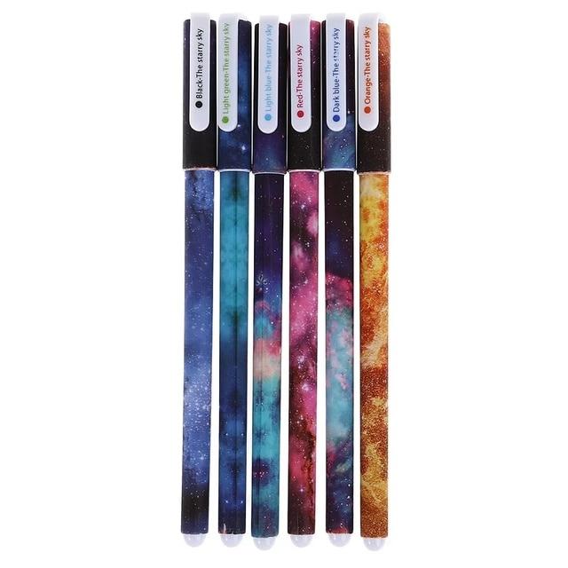 6 sztuk/partia 0.38mm Śliczne Przestrzeń Starry Sky Night Sky Długopis Żelowy Kawaii Piękne Pióro Podpis Escolar Szkolne Papelaria Dostaw