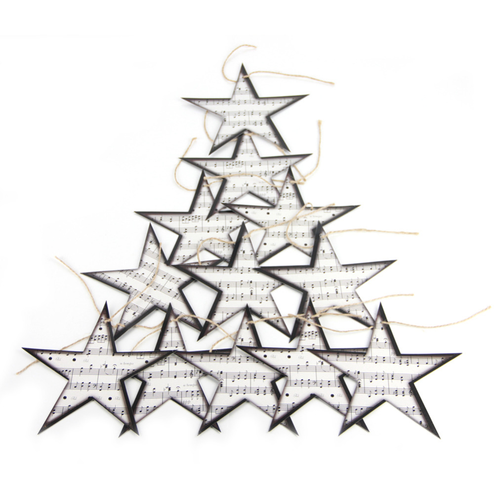 Music Themed Christmas Ornaments.Us 1 97 34 Off 12pc Twinkle Twinkle Sheet Music Star Embellishments Star Garland Christmas Tree Ornaments Home Nursery Music Themed Decor In Party