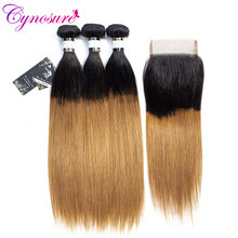 Cynosure 1b/30 Ombre Brazilian Straight Hair Weave Bundles with Closure Two Tone Non Remy Human Hair 3 Bundles with Closure(China)