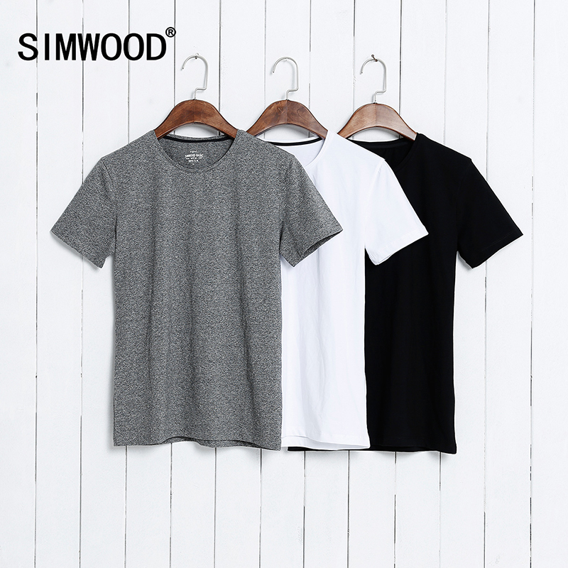 SIMWOOD 2017 Summer Brand Men s Short sleeved Cotton skinny T shirt Shirt Solid Casual O
