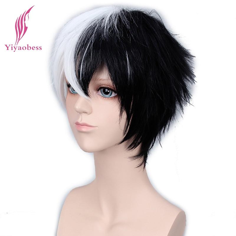 Yiyaobess 6inch Synthetic Hair Monokuma Half White Black Wig Bangs Cosplay For Man