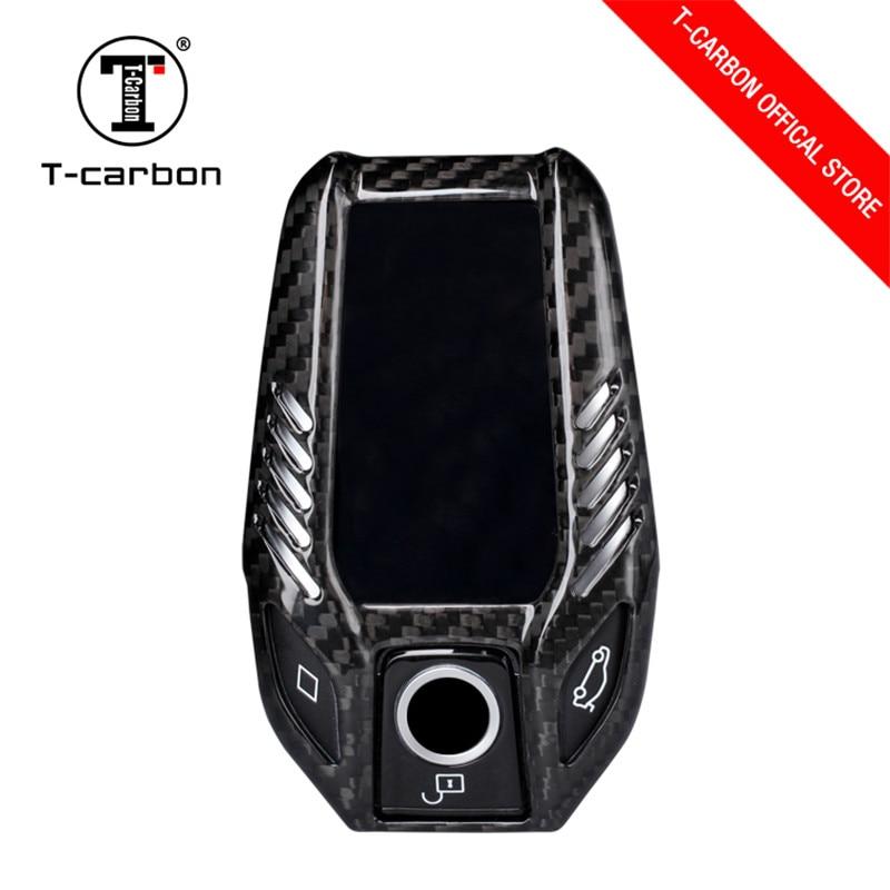 Car Styling Pure Carbon Fiber Car Key Case Cover Shell bag For BMW 7 Series 730li 740li 750 530 6 Series GT X3 Car Accessories