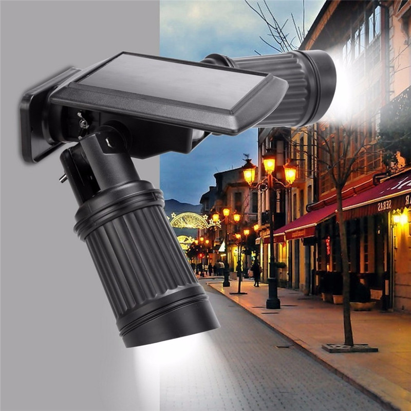 Solar Powered PIR Motion Sensor Dual Head Spotlight Adjustable Brightness Waterproof LED Auto On/Off Energy saving Garden lamp 2 in 1 solar powered led spotlight super bright outdoor lamp 8 led waterproof type adjustable auto on auto off security light