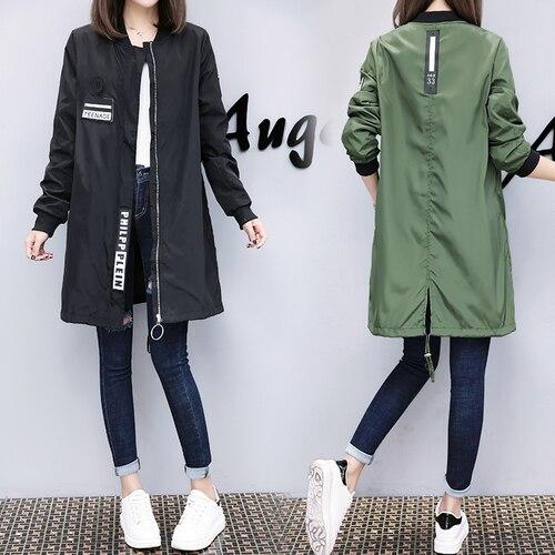2018 Fashion Women Casual Long Sleeve Zipper Spring Coat Casaco Feminino Medium Long Army Green Black White Women Jacket