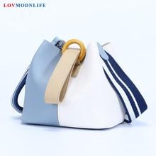 Luxury Ladies Handbags Women Shoulder Bags Designer Fashion Women's Bucket Bag Panelled Sac a Main Female Bag Genuine Leather цена и фото