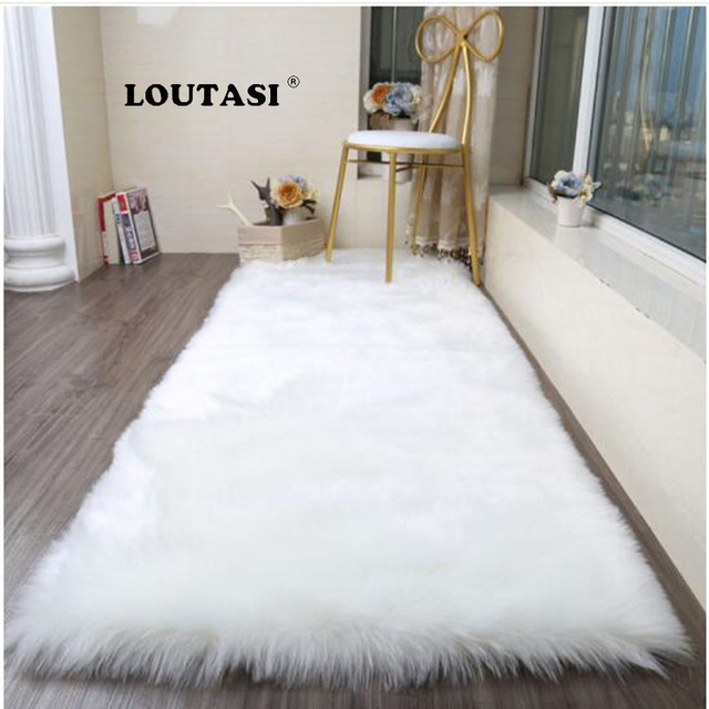 Loutasi Long Faux Fur Artificial Skin Rectangle Fluffy Chair Sofa Cover Carpet Mat Area Rug For