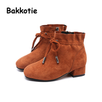 Bakkotie 2017 Winter Child Girl Fashion Ankle Boots Pink Suede Baby Short Boots Kid Sweet Toddler