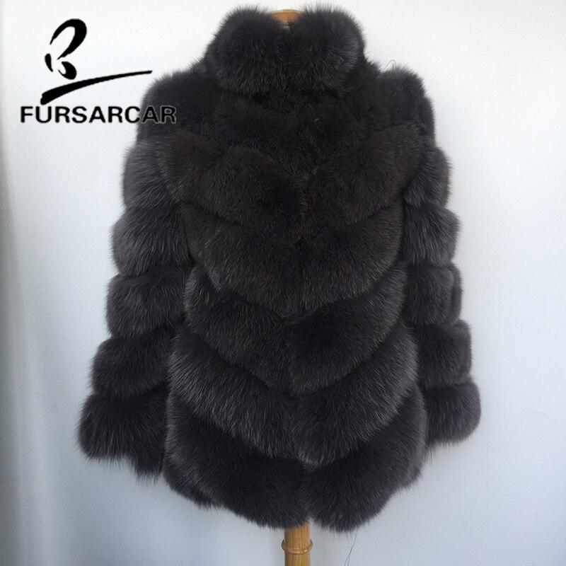 FURSARCAR 2018 New Real Natural Fox Fur Coat With Fur Collar 80 CM Long Luxury Fashion Female Fox Fur Jacket Winter Fur Coat