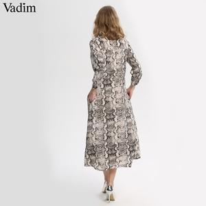 Image 2 - Vadim 여성 뱀 인쇄 발목 길이 드레스 주머니 긴 소매 분할 pleated 여성 캐주얼 세련된 드레스 vestidos qa502