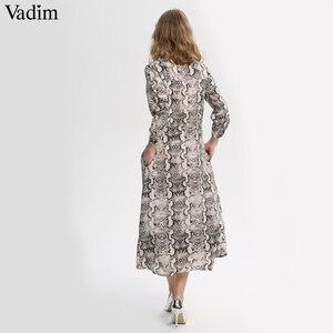Image 2 - Vadim women snake print ankle length dress pockets long sleeve split pleated female casual chic dresses vestidos QA502