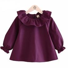 Блузки для маленьких девочек Весенняя мода белый фиолетовый голубой цвет блузки для маленьких девочек с длинными рукавами рюшами Топы; одежда для малышей