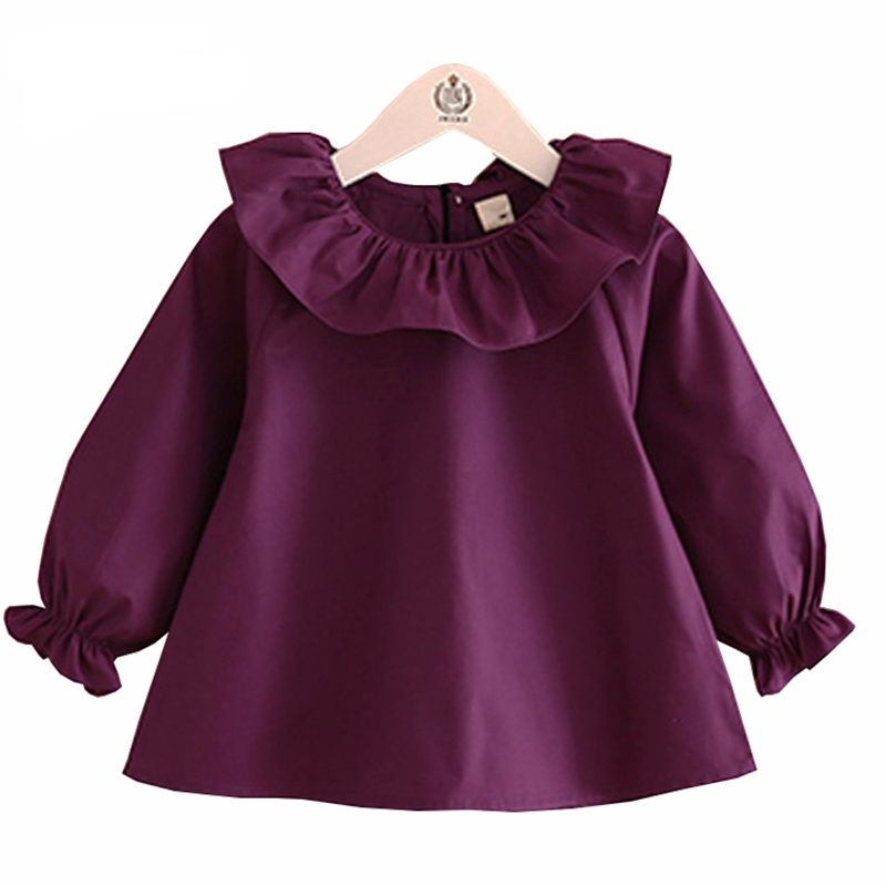 Toddler Girl Shirts 2016 Autumn Fashion Pure Color Girls Blouse Cotton Long Sleeve Lotus Leaf Collar Cute Baby Kids Clothes