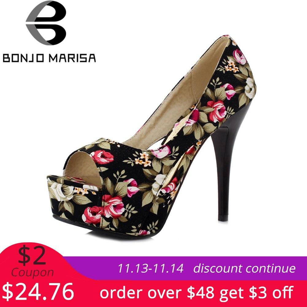 BONJOMARISA Women Bohemia Flower Print Shoes Woman High Heel Open Toe Platform Party Wedding Pumps Big Size 32-42 цена